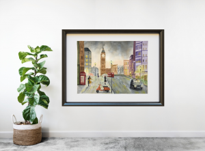Home decor London city Painting by watercolor