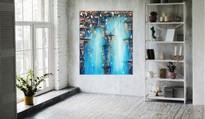 Handmade on Canvas-Abstract Painting with Gold Leaf