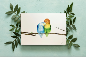 Handmade Loved Birds Watercolour art work Home decor