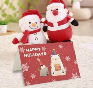 Set 3 Christmas Cards, Santa Xmas Card, cute animal Holidays