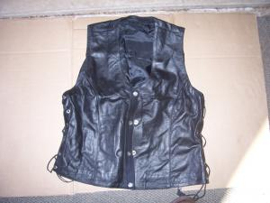 Black Buffalo Hide Leather Vest