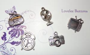 Retro Charms Set of 5 Silver
