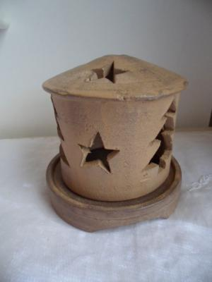 Christmas tree and star terracotta earthenware candle lantern
