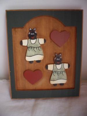 rustic country style golliwog and heart wooden wall plaque picture