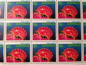 2c 1980's Coral Hopper Stamp Sheet