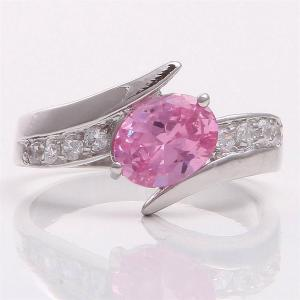 Brand New 10k White Gold Pink Sapphire Wedding Ring- Size 7.5