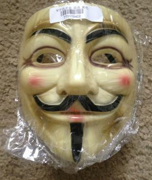 Brand New V for Vendetta Anonymous Yellow Costume Mask x1
