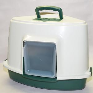 Portable Corner Hooded Cat Litter Box Tray House Handle + Scoop Green