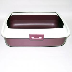 Cat Kitty Litter Tray With Rim Portable Toilet Box Dark Red