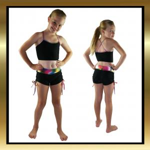 Black/Multi Tie Side Shorts and Top Kids Dancewear Set