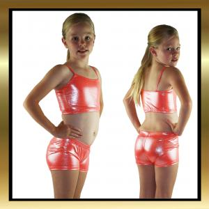 Kids Dancewear - Orange Sparkle Dance Shorts and Matching Top