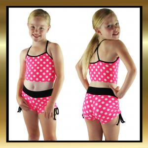 Kids Pretty Polka Dot Dancewear Tie Side Shorts & Top Set