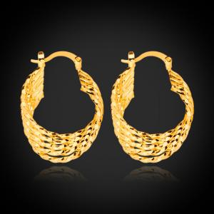 HIgh Quality 18k Gold Plated New Unique Fashion Design Hoop  Earrings