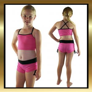 Kids Dancewear - Pink/Black Tie Side Dance Shorts & Top