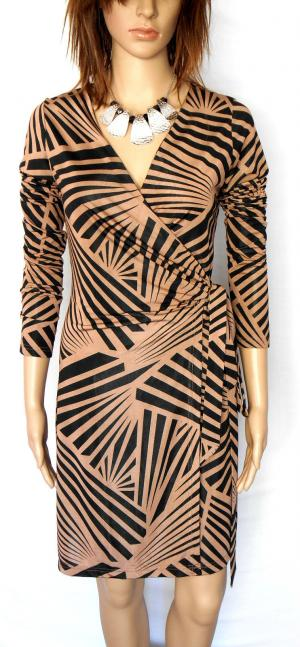 ARK & CO wrap style dress, coffee & black geometric, sz. 10-12