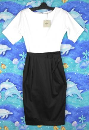 ASOS mid calf dress, **NWT, sz. 10-12 - black & white