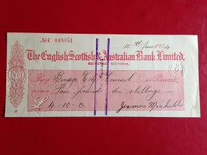 The English Scottish & Australian Bank Ltd Cheque