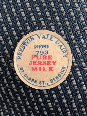 Preston Vale Dairy Bendigo Milk Bottle Stopper