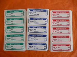 50 x GREEN or RED or BLUE or BLACK oil Service sticker PLASTIC