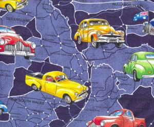 Old Holden Cars on Blue Australian Map Cotton Quilting Fabric 1/2 YARD