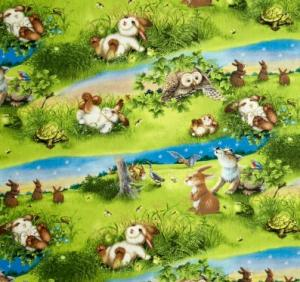 Quiet Bunny and the Night Song Scenic Cotton Quilting Fabric 1/2 YARD