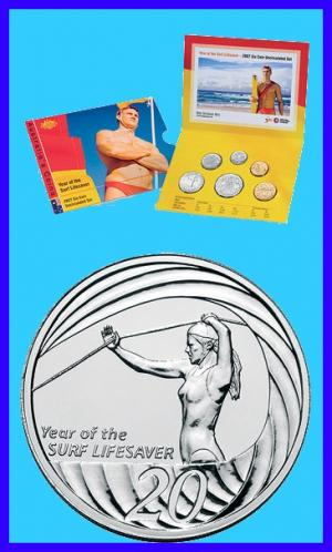 2007 UNC Coin Mint Set Year of the Surf Lifesaver