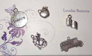 School Time Charms Set of 5 Silver