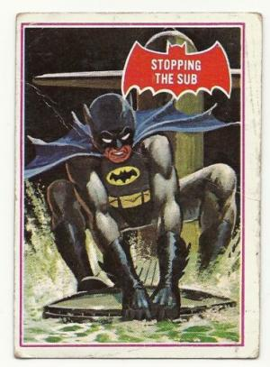 1966 BATMAN BUBBLE GUM CARD RED  39 A