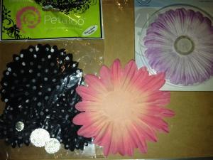 3 PACKS FABRIC FLOWERS, BLACK POLKADOT, PINK & MAUVE FLOWERS