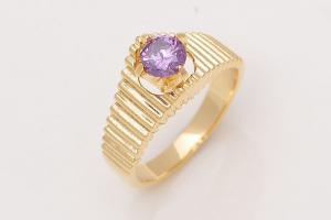 Brand New 10k Yellow Gold Amethyst Wedding Ring- Size 7.5