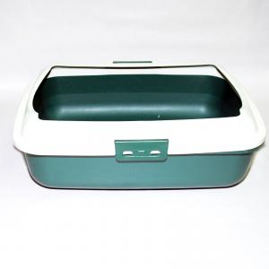Cat Kitty Litter Tray With Rim Portable Toilet Box Green