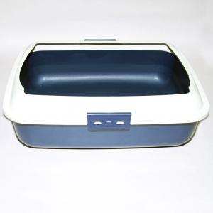 Cat Kitty Litter Tray With Rim Portable Toilet Box Blue