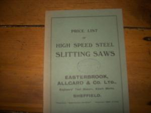 vintage high speed steel slitting saws price list