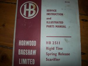 Service instruction for HB 2511 Rigid tine scarif