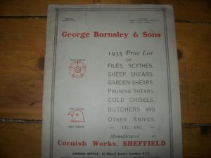 Book price list George Barnsley & Sons 1935