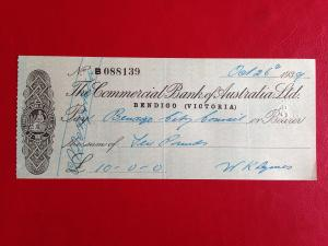 Commercial Bank Of Australia Cheque 1939