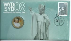 2008 PNC Pope WYD FDC Stamp & Special $1 Coloured