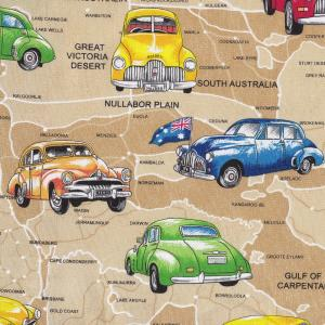 Old Holden Cars on Tan Australian Map Cotton Quilting Fabric 1/2 YARD