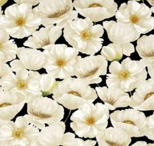 Poppy Celebration Ivory Black Background Cotton Quilting Fabric 1/2 YD