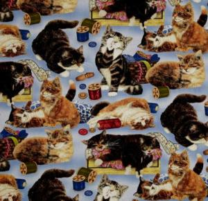 Sew Curious Cats and Sewing Notions Blue Cotton Quilting Fabric 1/2 YD