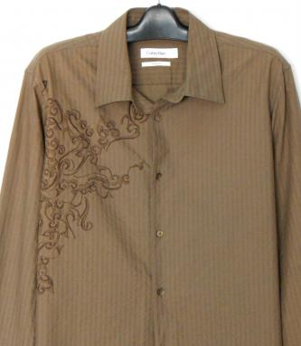 CALVIN KLEIN casual shirt, coffee - sz. L