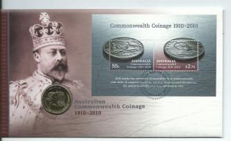 2010 PNC Commonwealth Coinage FDC Mini Sheet & $1