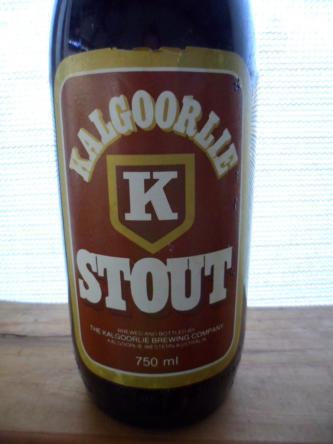 Vintage Kalgoorlie K Stout bottle label and cap