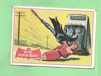 SCANLENS 1966 BATMAN RED BAT CARD 38A IN THE PATH