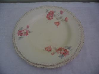 2 vintage Ridgway china plates pink flower pattern