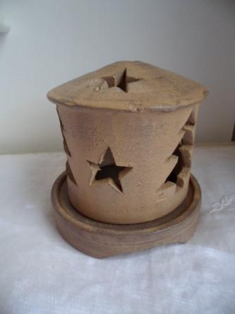Christmas tree and star terracotta earthenware can...