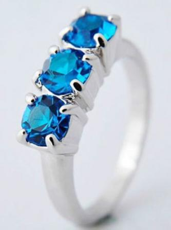 Brand New 10k Blue White Gold Sapphire Wedding Ring - Size 7.5