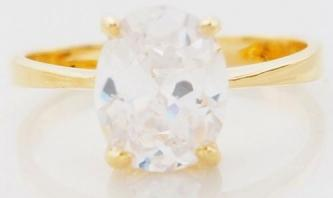 Brand New 10k Yellow Gold White Sapphire Wedding Ring- Size 7.5