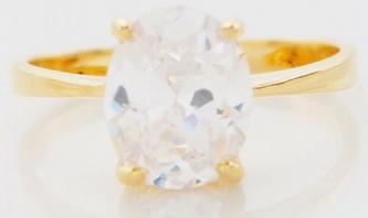 Brand New 10k Yellow Gold White Sapphire Wedding Ring- Size 7.5