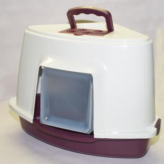 Portable Corner Hooded Cat Litter Box Tray House Handle + Scoop Red